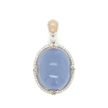 Chalcedony & Diamond Halo Drop Pendant
