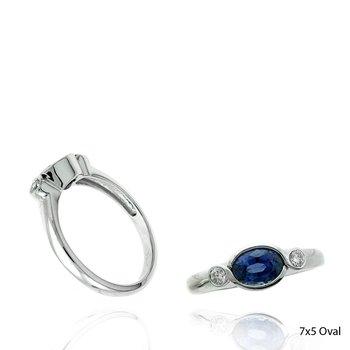 Contemporary Sapphire & Diamond Fashion Ring