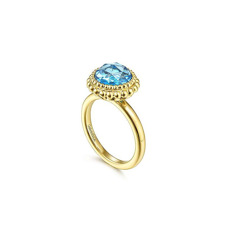 Gabriel & Co. New York Round Blue Topaz Bezel Bujukan Bead Halo Ring