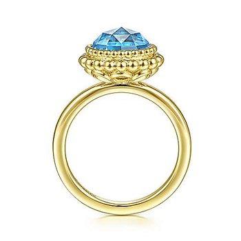 Round Blue Topaz Bezel Bujukan Bead Halo Ring