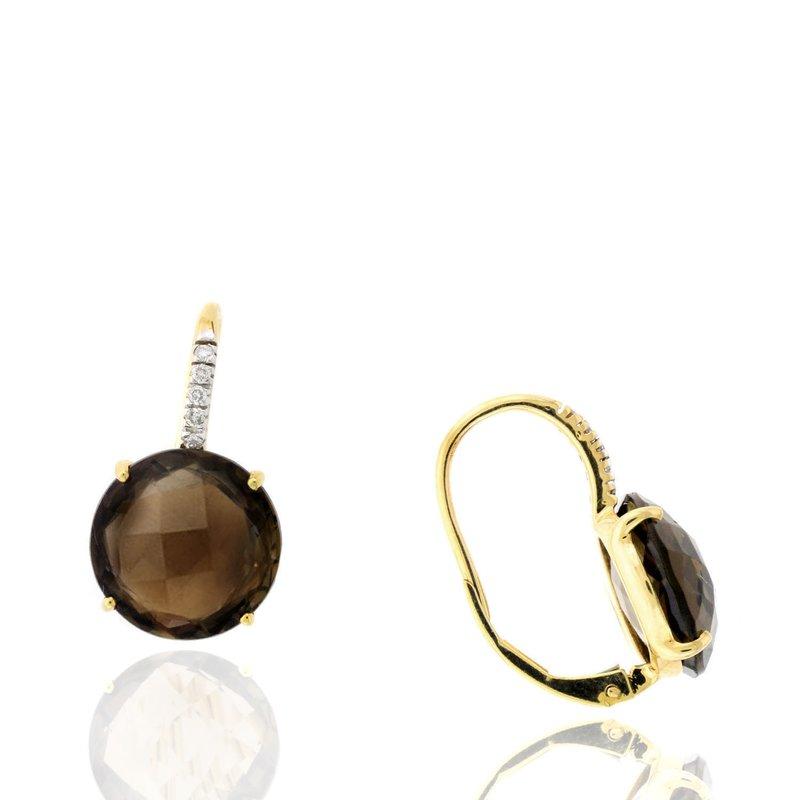 Murphy Pitard Signature Collection Smoky Topaz & Diamond Drop Earrings