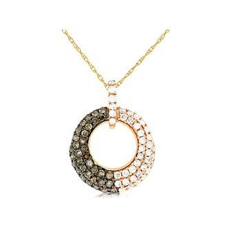 Pavé Diamond Open Circle Necklace With Mocha Diamonds