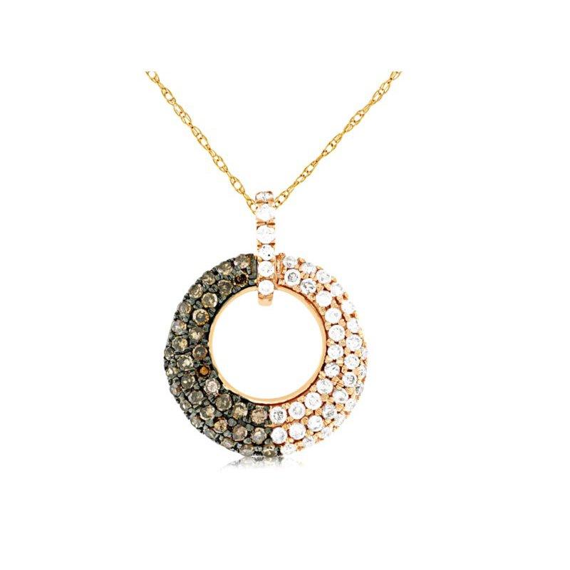 Murphy Pitard Signature Collection Pavé Diamond Open Circle Necklace With Mocha Diamonds