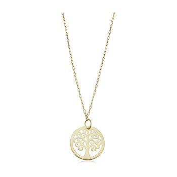Gold Polished Tree of Life Pendant Necklace