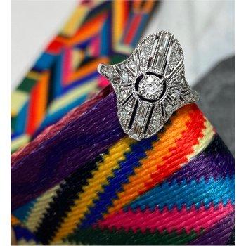 Diamond Vintage Inspired Oval Milgrain Ring