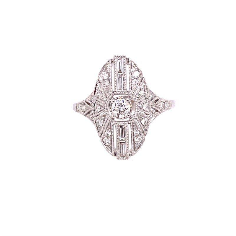 Murphy Pitard Signature Collection Diamond Vintage Inspired Oval Milgrain Ring