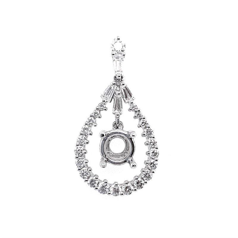 Murphy Pitard Signature Collection Diamond Pear Halo Pendant Mounting