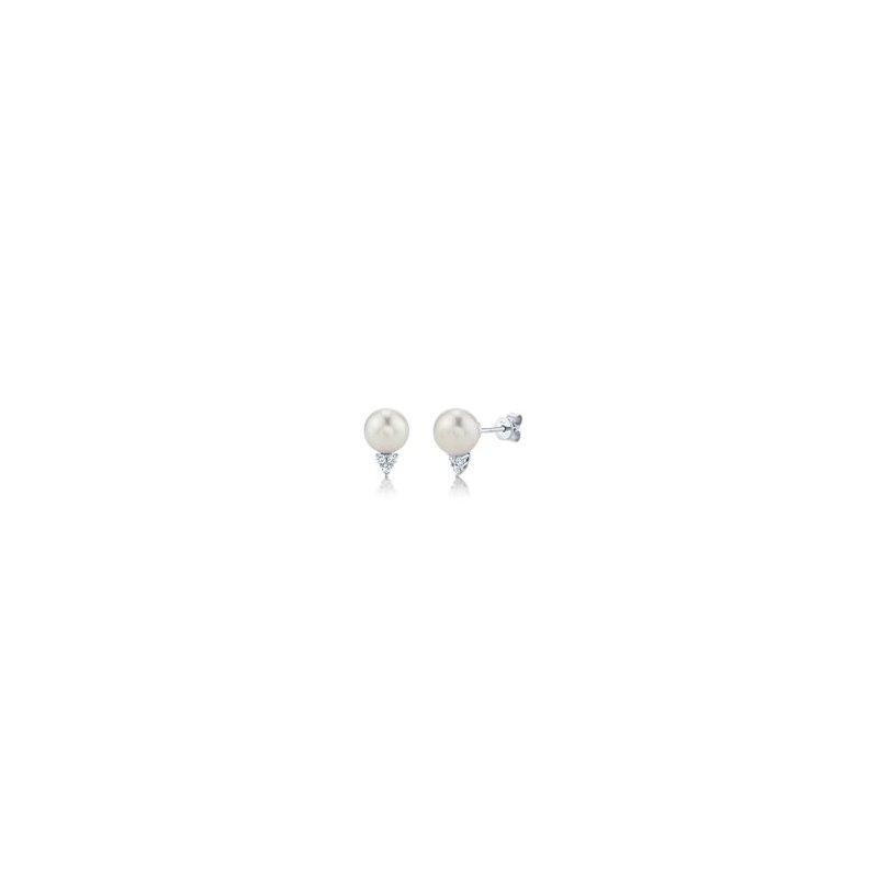 Shy Creation Jackie Collection Pearl & Diamond Stud Earrings