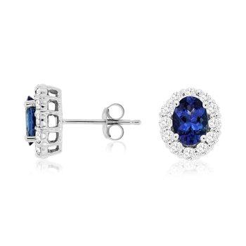 Oval Tanzanite Diamond Halo Stud Earrings
