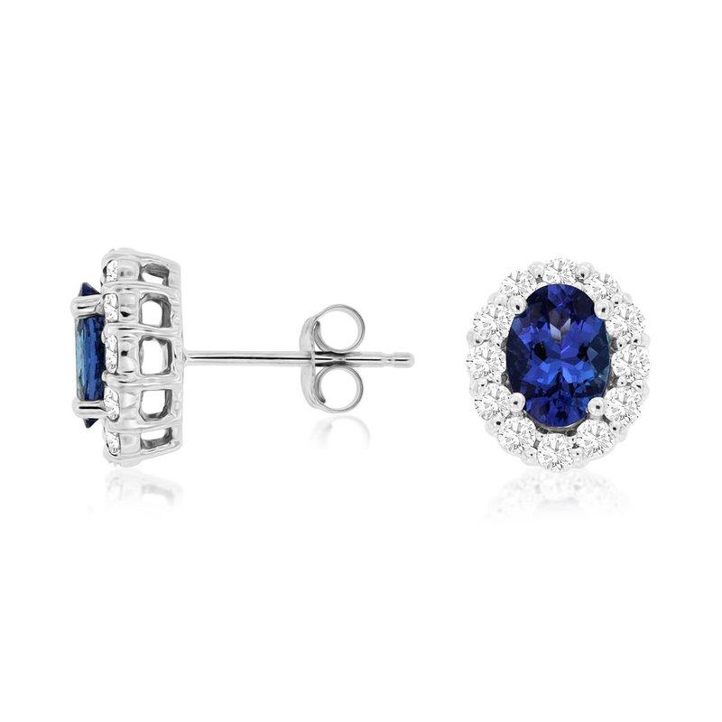 Murphy Pitard Signature Collection Oval Tanzanite Diamond Halo Stud Earrings