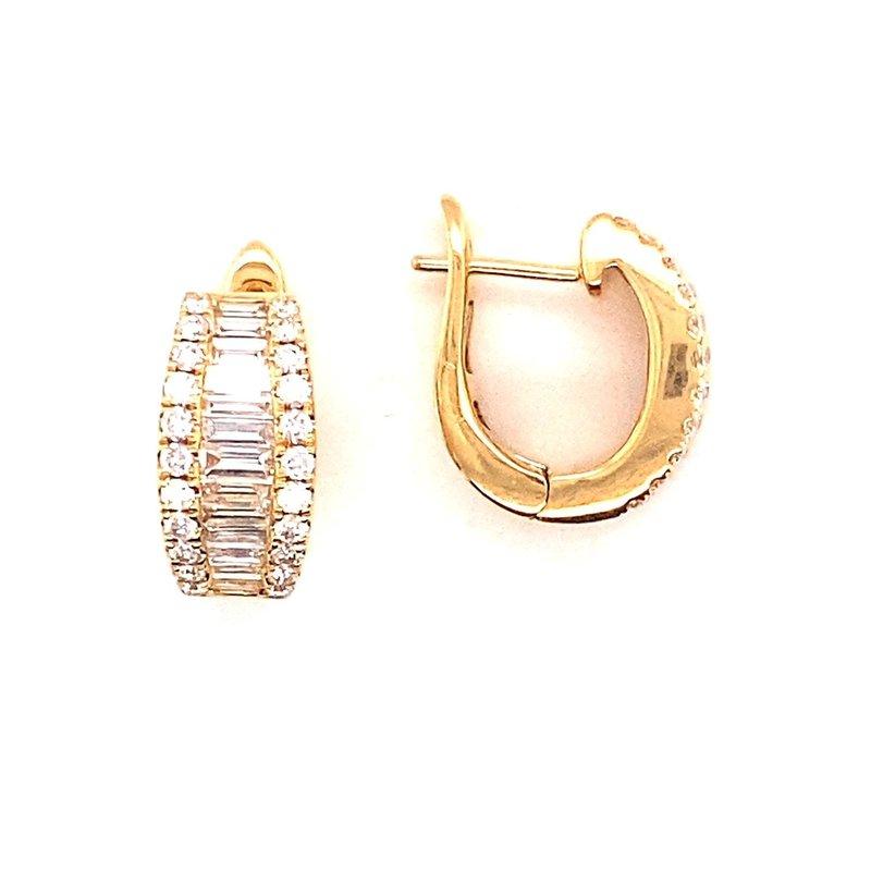 Murphy Pitard Signature Collection Round & Baguette Diamond Huggie Earrings