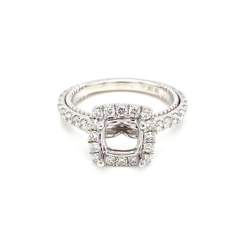 Murphy Pitard Signature Collection Diamond Square Halo Accented Engagement Ring