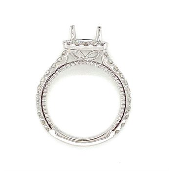 Diamond Square Halo Accented Engagement Ring