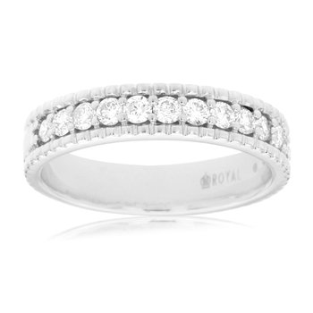 Diamond 1/2 Carats Band With Beaded Channel Edges
