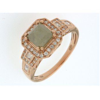 Green Diamond Halo Fashion Ring