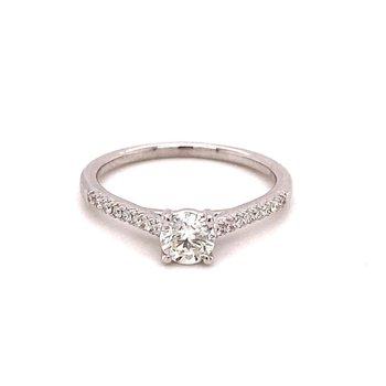 Round Diamond 5/8 Carats Diamond Accented Engagement Ring