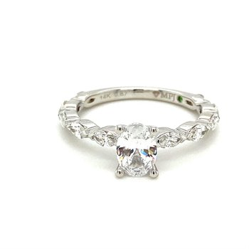 Marquise Diamond Oval Center Engagement Ring
