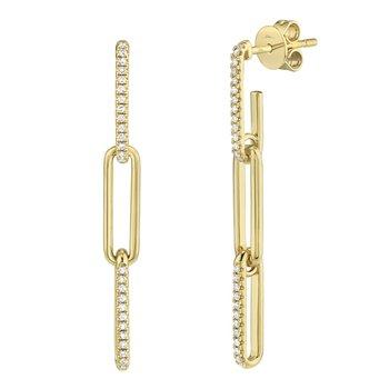 Dangle Diamond Paper Clip Link Earrings
