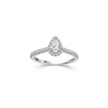 Pear Halo Diamond Engagement Ring