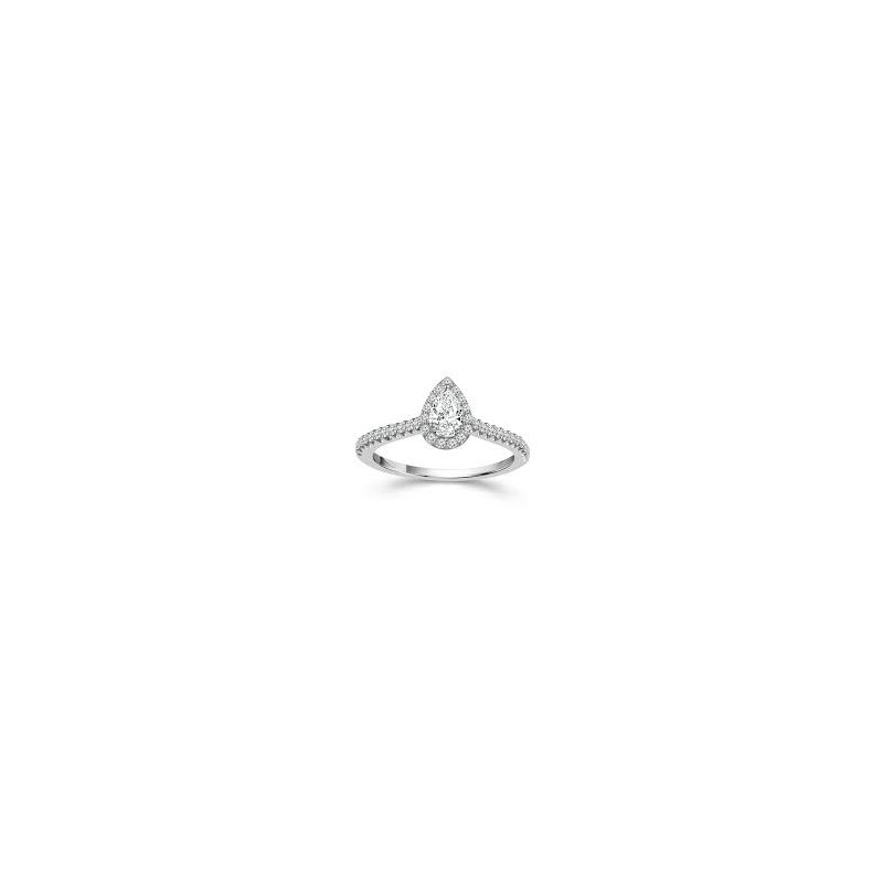 Murphy Pitard Signature Collection Pear Halo Diamond Engagement Ring