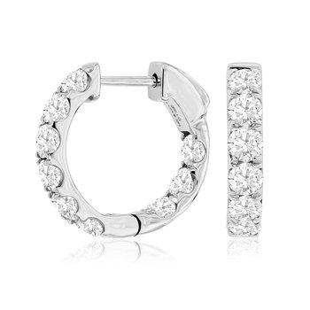 Diamond 2.0 Carats Inside Out  Hoop Earrings