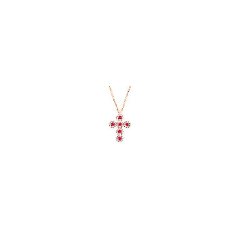 Shy Creation Ruby & Diamond Halo Cross Pendant Necklace