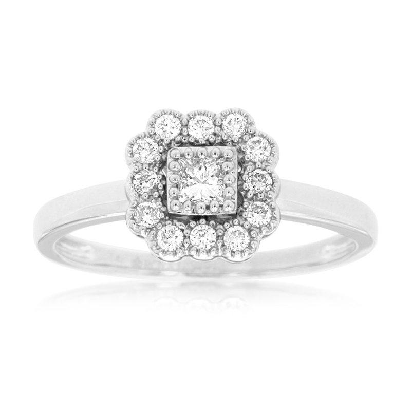 Murphy Pitard Signature Collection Diamond Square Halo Engagement Ring