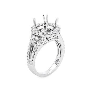 Round Diamond Halo Split Shoulder Engagement Ring