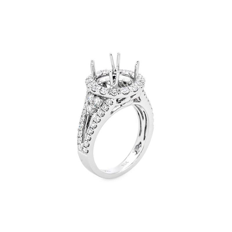 Murphy Pitard Signature Collection Round Diamond Halo Split Shoulder Engagement Ring