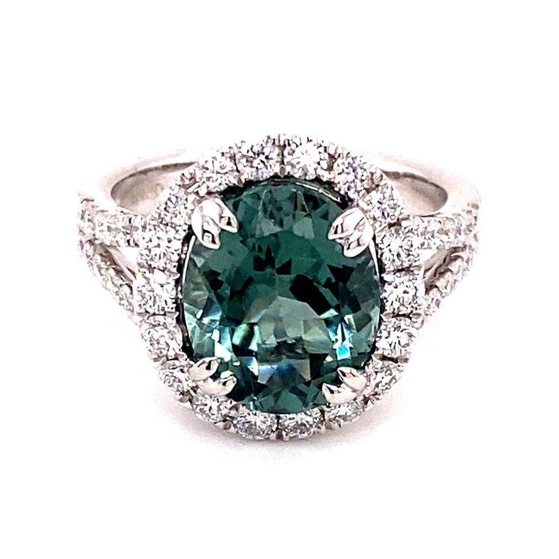 Murphy Pitard Signature Collection Oval Green Tourmaline and Diamond Ring