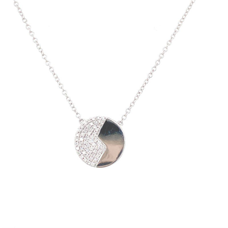 Murphy Pitard Signature Collection Diamond Disc Polished Pendant Necklace
