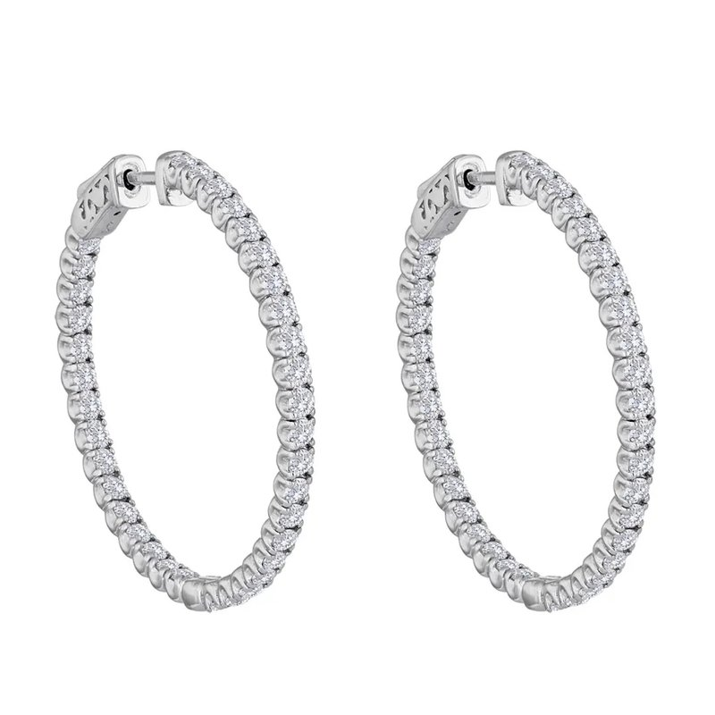Murphy Pitard Signature Collection Diamond 1.0 Carats Large Inside Out Hoop Earrings