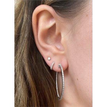 Diamond 1.0 Carats Large Inside Out Hoop Earrings