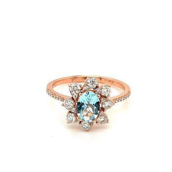 Aquamarine & Diamond Halo Fashion Ring