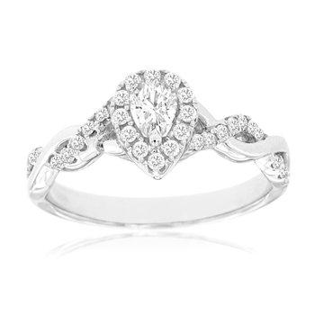 Diamond Pear Halo Twist Ring