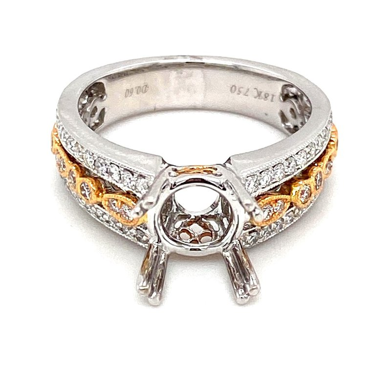 Murphy Pitard Signature Collection Vintage Inspired Two Tone Diamond Engagement Ring