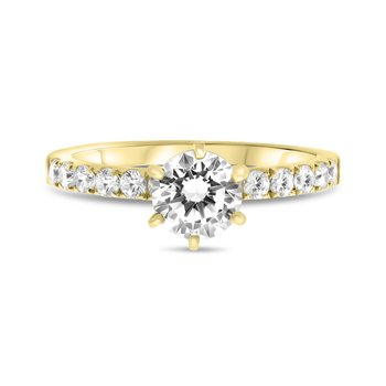 Diamond Accented 6 Prong Round Engagement Ring