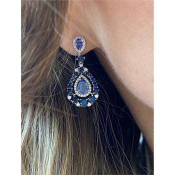 Diamond, Tanzanite & Sapphire Dangle Fashion Earrings.