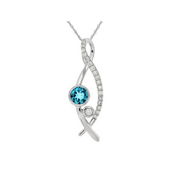Blue Topaz & Diamond Infinity Inspired Pendant Necklace