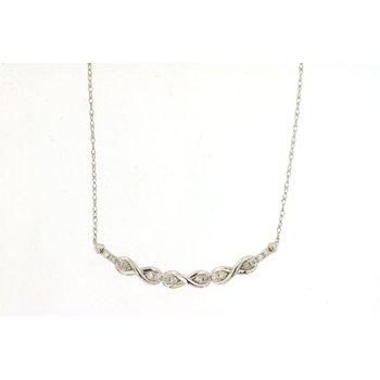 Diamond Twist Curve Bar Necklace