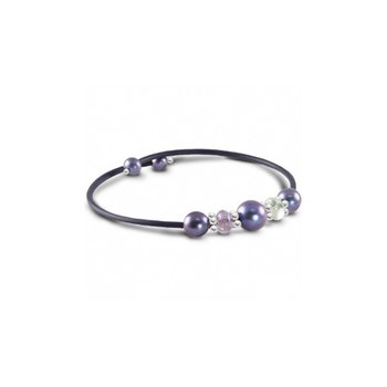Freshwater Black Pearl & Gemstone Bangle Bracelet