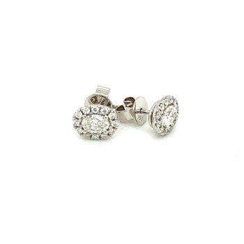 Oval Diamond Halo Stud Earrings