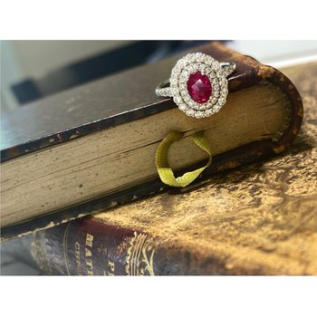 Oval Ruby & Double Diamond Halo Ring