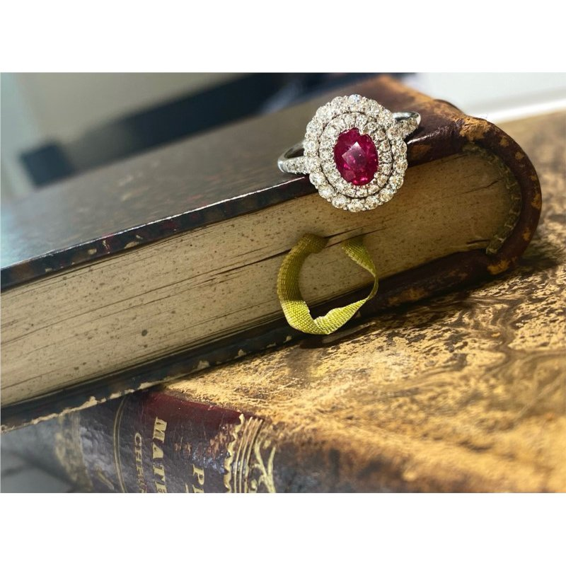 Murphy Pitard Signature Collection Oval Ruby & Double Diamond Halo Ring