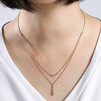Layered Diamond Bar and Beaded Bujukan Bar Necklace