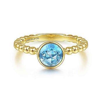 Round Blue Topaz Bezel Bujukan Ring
