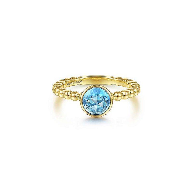 Gabriel & Co. New York Round Blue Topaz Bezel Bujukan Ring