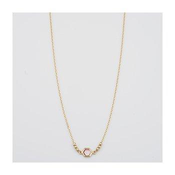Hexagon Amethyst Bezel Necklace