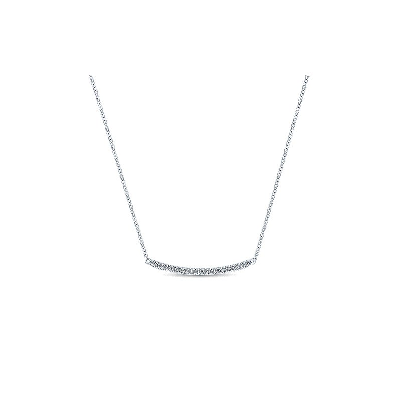 Gabriel & Co. New York Curved Diamond Bar Necklace