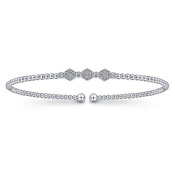 Diamond Beaded Flexible Cuff Bangle Bracelet